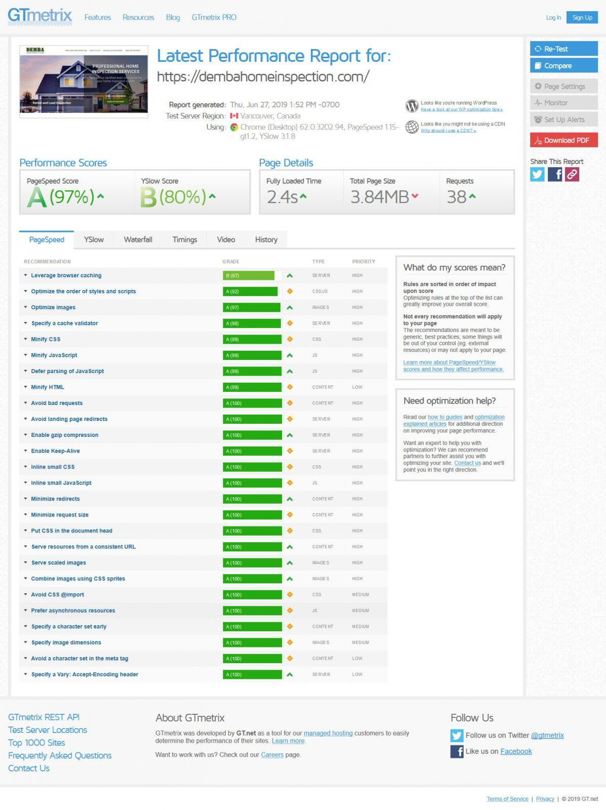 home inspection website page speed